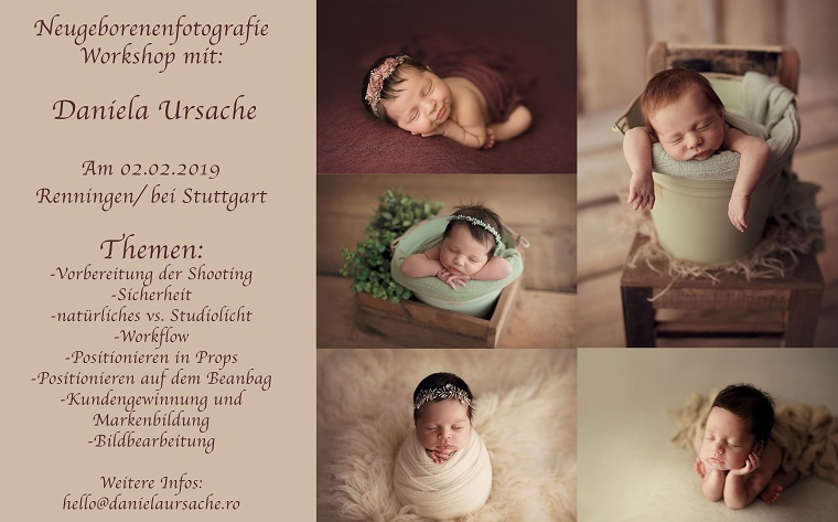 Workshop de fotografie newborn în Germania